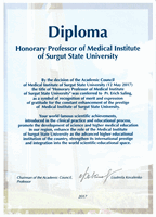 Honorary Professorship of the Medical Institute of Surgut State